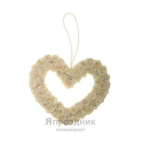Подвеска-сердце с розами podves-3 (два ряда розочек) айвори 15Х15 см