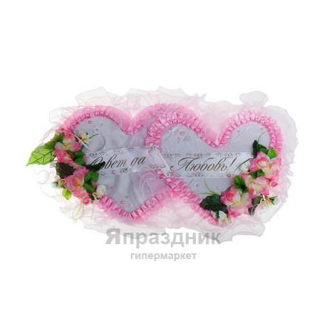 """Украшение для зала """"Совет да Любовь"""" два сердца цельные с розами, розовый"""