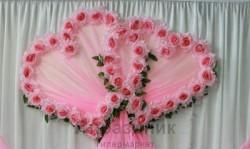 Украшение для зала УЗС- 2-Р два сердца с розовыми розами
