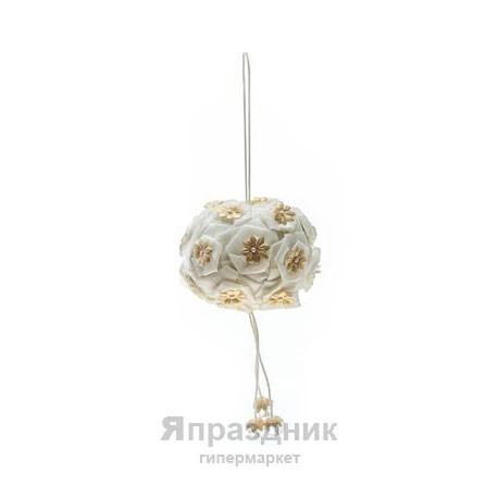 Подвес-шар одинарный с кристаллами/бусами podves-12 диам 20 см, цвет белый - айвори
