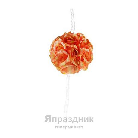 Шар из искусственных цветов с хрустальными кристаллами, диам 28 см, 40 оранж