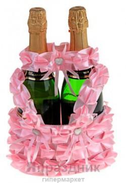 Корзинка для шампанского розовая+повязка на бутылку 758404