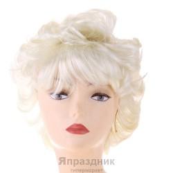 Карнавал парик блондинка короткая стрижка начес длинная челка
