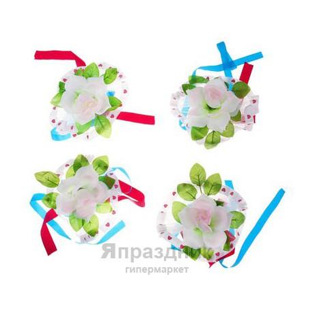 Украшения на ручки большие бело-розовые розы банты (набор 4шт)