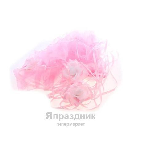 Ленты Лн16-01-0503 на капот с цв. органза наб 3шт 2 ленты 10*150см,1 л. 10*120см роз - белый