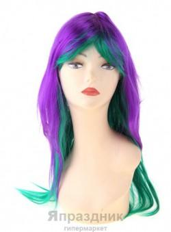 Карнавал парик длинные волосы мелирование фиолетово-зеленый