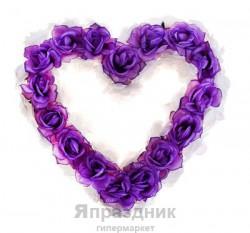 Сердце на капот из цветов сиренево-белое
