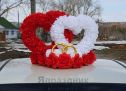 Сердца на крышу Ср12-01-0603 объемные на треугольнике 40х60х45см красный - белый