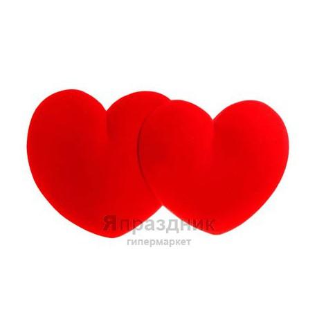 Сердца на радиатор Ср47 объемные флок красн 58х35х3 см