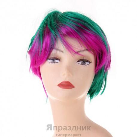 Карнавал парик зелено-фиолетовый короткая стрижка