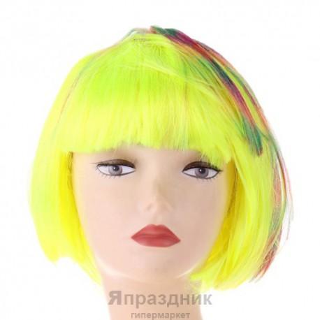 Карнавал парик цветное каре с мелированием
