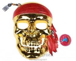 Маска пластик пират золотой череп с серьгой