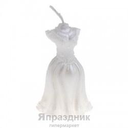 Свеча воск свадебное платье белая