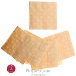 Салфетки бледно-желтые в горох 33см 20шт