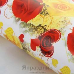 Бумага упаковочная Сердце из розы 52 х 76 см