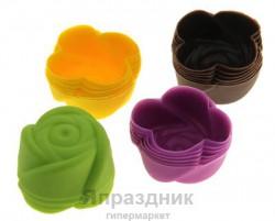 Набор формочек для выпечки силикон 6 шт 7 см розочка