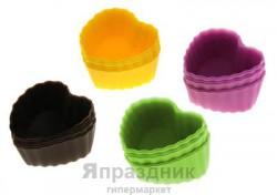 Набор формочек для выпечки силикон 6 шт 5,5 см сердце рифленое