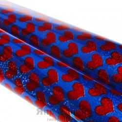 Бумага голография Красные сердца на синем 70 см х 1,0 м
