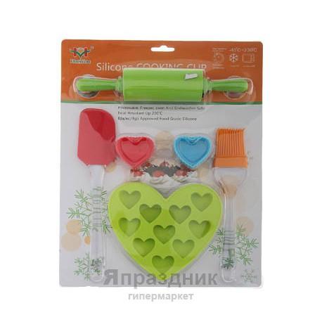 """Набор для запекания """"Любимое сердечко"""", (7 форм, лопатка, кисточка, скалка)"""