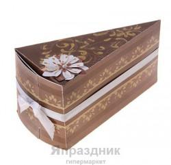 """Бонбоньерка """"Тортик"""" СкрБон02-00-1701 6,5х6х12см коричневый - золотой"""