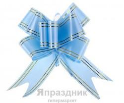 Бант-бабочка №5 золотая полоса голубой
