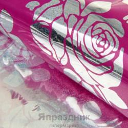 Бумага голографическая Розы на розовом 70 см х 100 см
