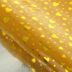 Бумага голографическая Сердечки золотые на желтом 70 см х 100 см