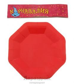 Набор тарелок квадратных красных 18см 6шт