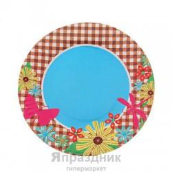Тарелка круглая бабочки цветы ( набор 6 шт) D-18