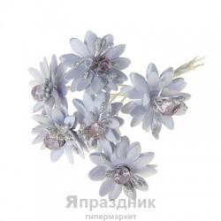 """Декор для творчества """"Веточка с цветами"""" МИКС, 9,5 см (1 набор=1 букету) в букете 6 цветков"""