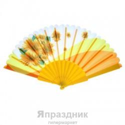 "Веер 21 см ""Цветы"", жёлтый"
