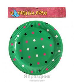 Тарелка круглая в горох зеленая( набор 6 шт) D-23