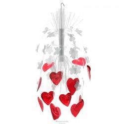 """Каскад на подвесе """"Сердца любви"""", красные сердца"""