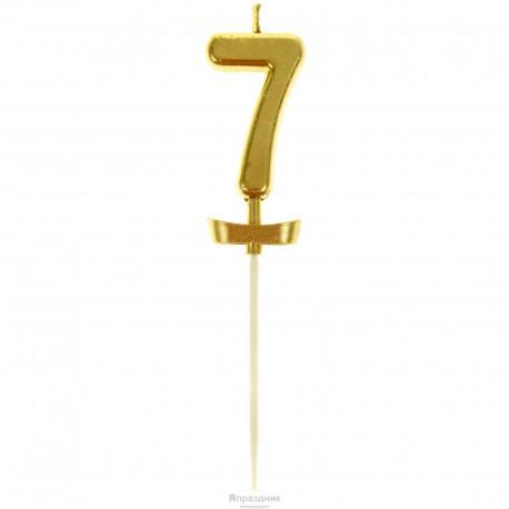 Свеча для торта Цифра 7 Золотой топпер