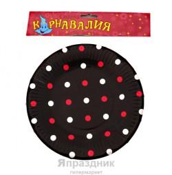 Тарелка круглая в горох черная ( набор 6 шт) D-18