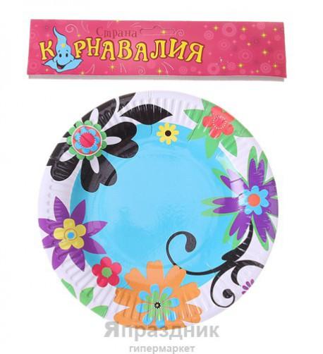 Набор тарелок Цветы по краям 18см 6шт