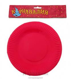 Тарелка круглая розовая ( набор 6 шт) D-18