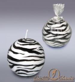 Свеча шар зебра 6035