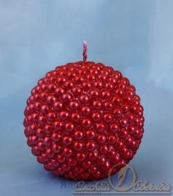 """Свеча шар """"жемчужный рубиновый"""" 3937"""