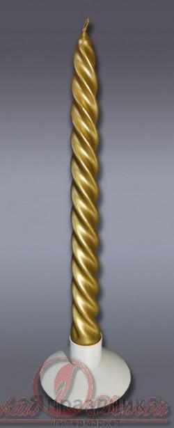 Свеча витая 2 шт золотая 3915