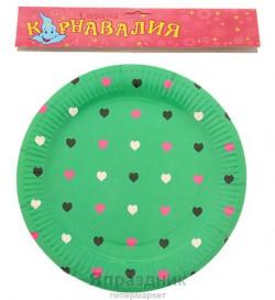 Набор тарелок зеленых с сердечками 23см 6 шт