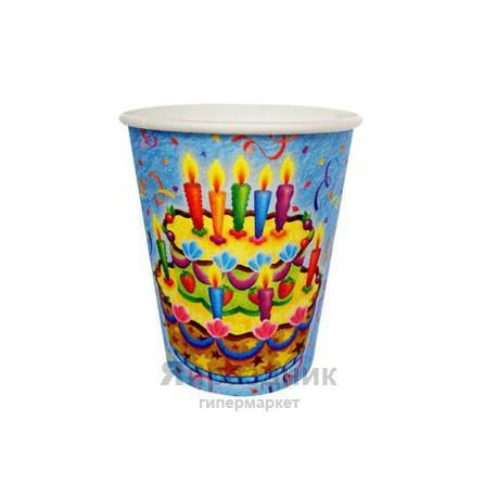 Стаканы бумажные Праздничный торт 6шт