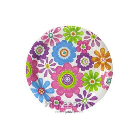 Тарелки бумажные ламинированные Маргаритки 6шт