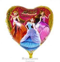 Шар воздушный фольг 61 Сердце Winx