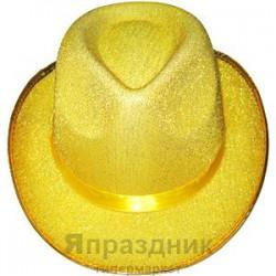 Шляпа золотая с блестками