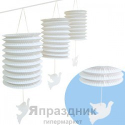 Q Бум укр Гирлянда Свадебные бумажные фонарики с подвеской Голуби 10х10см 3,6м